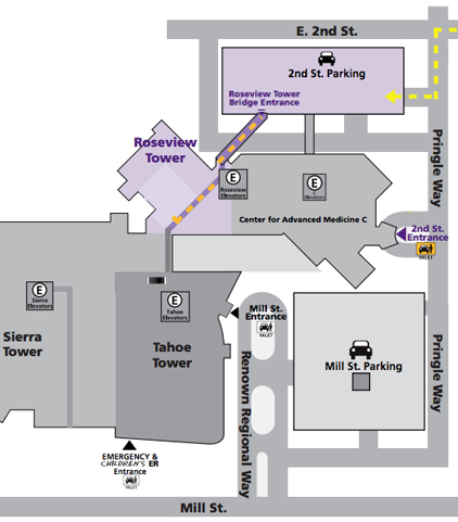 Map of parking and entrance to Roseview Tower.